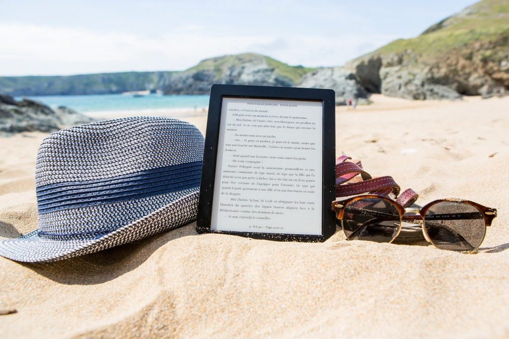 e-book on beach