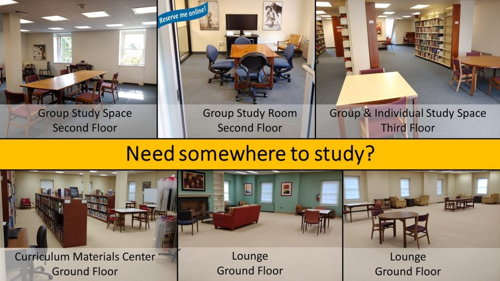 photos of six study spaces in library