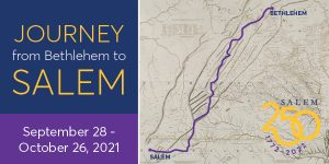 graphic of map with walking route in purple and words journey from Bethlehem to Salem